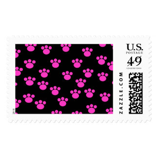 Bright Pink and Black Paw Print Pattern. Postage