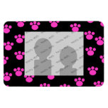 Bright Pink and Black Paw Print Pattern. Rectangle Magnet