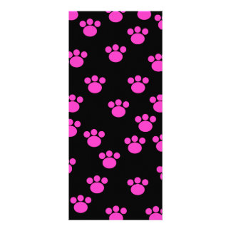 Bright Pink and Black Paw Print Pattern. Personalized Rack Card