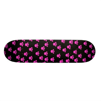 Bright Pink and Black Paw Print Pattern. Skateboard Deck