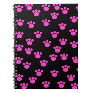 Bright Pink and Black Paw Print Pattern. Spiral Notebook