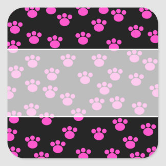 Bright Pink and Black Paw Print Pattern. Square Sticker