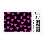 Bright Pink and Black Paw Print Pattern. Stamps