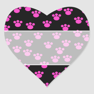 Bright Pink and Black Paw Print Pattern. Sticker