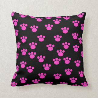 Bright Pink and Black Paw Print Pattern. Throw Pillow