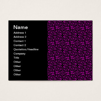 Bright Pink and Black Vine Pattern Business Card