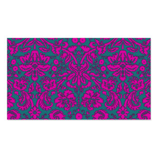 Bright Pink and Blue Damask Business Card Template