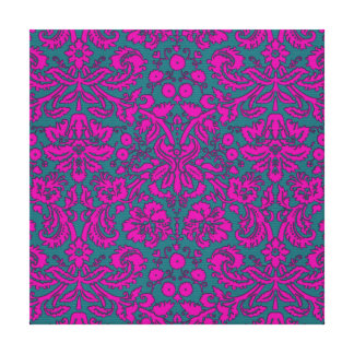 Bright Pink and Blue Damask Canvas Prints