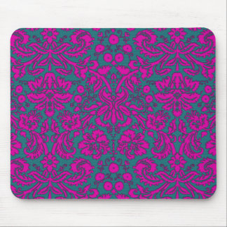 Bright Pink and Blue Damask Mouse Pad