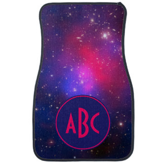 Bright Pink and Blue Galaxy Cluster Monogram Car Mat