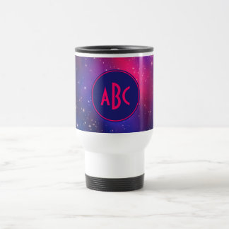 Bright Pink and Blue Galaxy Cluster Monogram Travel Mug