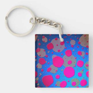 Bright Pink and Blue Modern Art Acrylic Keychain