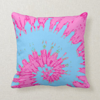 Bright Pink and Blue Spiral Tie Dye Pillow