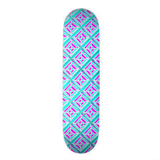 Bright Pink and Blue Square Skateboard