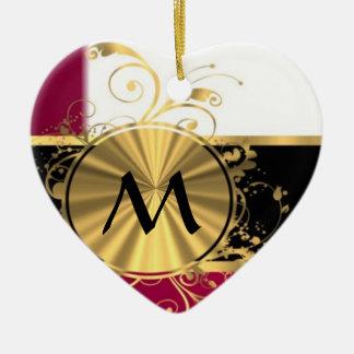 Bright pink and gold monogram ceramic ornament
