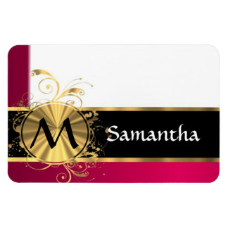 Bright pink and gold monogram magnet