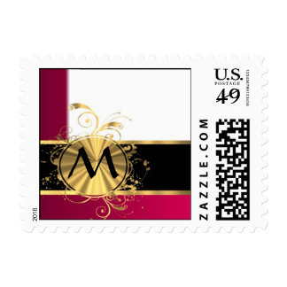 Bright pink and gold monogram postage stamp