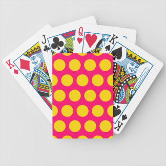 Bright Pink and Gold Polka Dots Bicycle Playing Cards