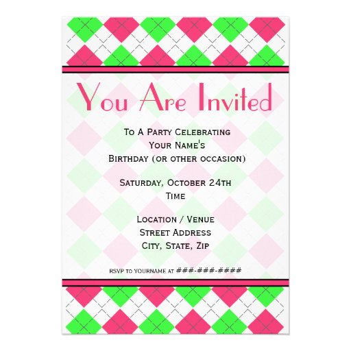 Bright Pink and Green Argyle Fashion Invitation