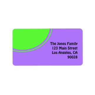Bright pink and green mod circle address label