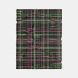 Bright Pink and Green Plaid Fleece Blanket