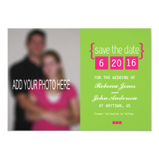 Bright pink and green Save the Date card