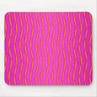 Bright Pink and Orange Abstract Modern Stripes Mouse Pad