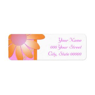 Bright Pink and Orange Floral  Damask Wedding Label
