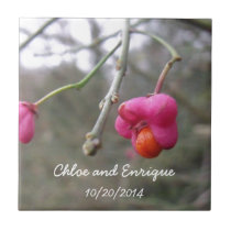 Bright Pink And Orange Flower Personalized Wedding Ceramic Tile