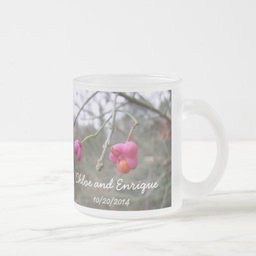 Bright Pink And Orange Flower Personalized Wedding Coffee Mugs