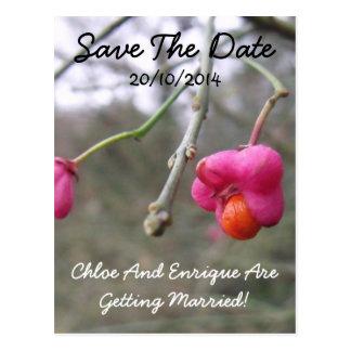 Bright Pink And Orange Flower Wedding Save the Dat Postcard