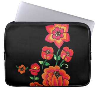 Bright Pink And Orange Flowers Laptop Sleeve