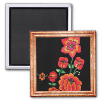 Bright Pink And Orange Flowers Magnet