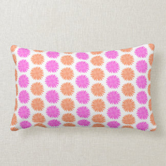 Bright Pink and Orange Flowers. Throw Pillow