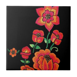 Bright Pink And Orange Flowers Tile