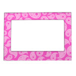 Bright Pink and Pastel Pink Paisley. Photo Frame Magnet