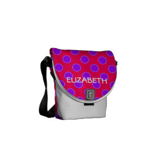 Bright Pink and Purple Polka Dot Personalized Messenger Bag
