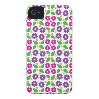 Bright Pink and Purple Retro Seventies Flowers Case-Mate iPhone 4 Cases