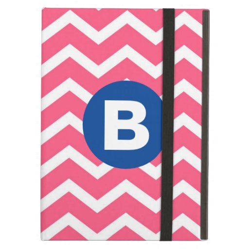 Bright Pink and White Chevron Pattern Monogram Case For iPad Air