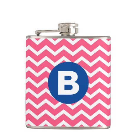 Bright Pink and White Chevron Pattern Monogram Flask