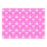 Bright Pink and White Damask pattern. Business Card Templates