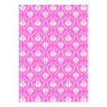 Bright Pink and White Damask pattern. Business Card Template