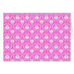 Bright Pink and White Damask pattern. Greeting Card