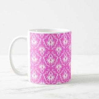 Bright Pink and White Damask pattern. Mugs