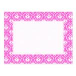 Bright Pink and White Damask pattern. Postcard