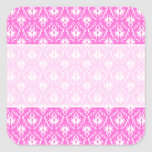 Bright Pink and White Damask pattern. Square Sticker