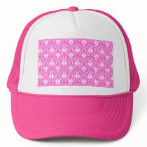 Bright Pink and White Damask pattern. Trucker Hat