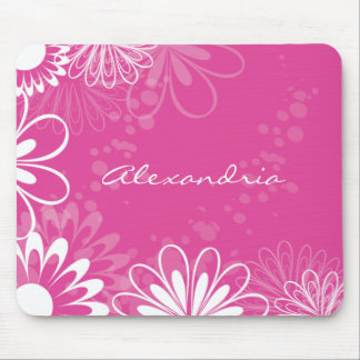 Bright Pink and White Floral Mousepad