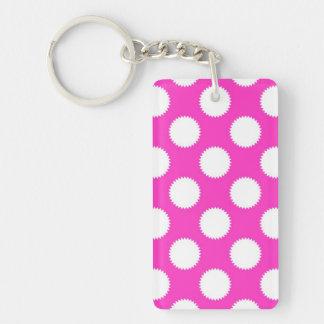 Bright Pink and White Fuzzy Polka Dot Keychain