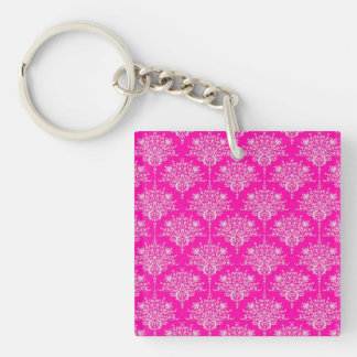 Bright Pink and White Girly Damask Pattern Keychain